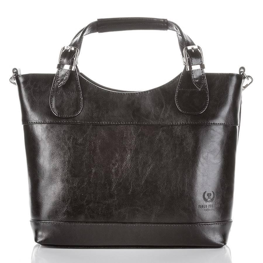 34186715efc3b ... Czarna Włoska skórzana damska torba PAOLO PERUZZI SHOPPER BAG ...