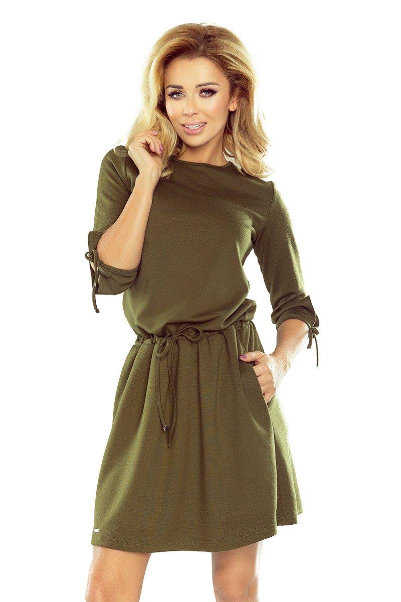 8556bc644d ... Lena sukienka sportowa z wiązaniami na rękawkach - KHAKI zielony  militarny ...