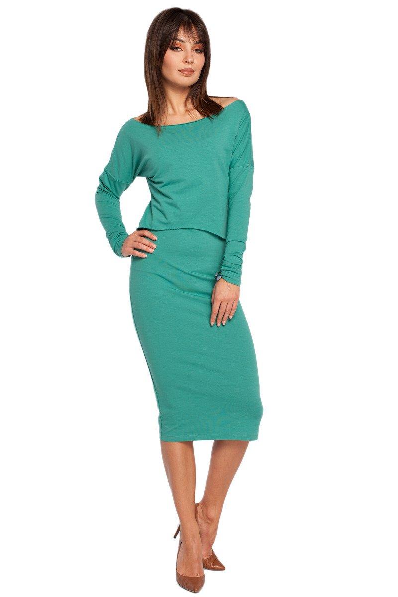 e7659c2496 BE GEMMA Sukienka ołówkowa z nakładaną bluzą - zielona - Merg.pl