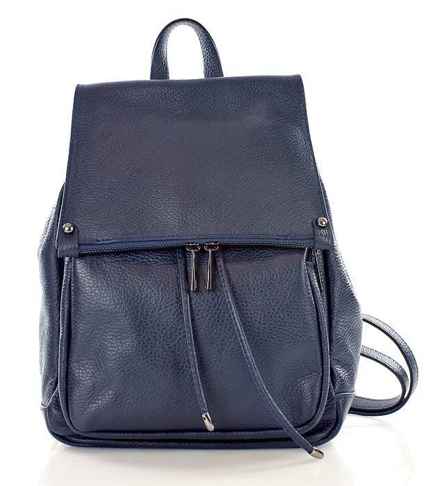 93023da2e0035 Skórzany Granatowy plecak damski AMBER  Skórzany Granatowy plecak damski  AMBER ...