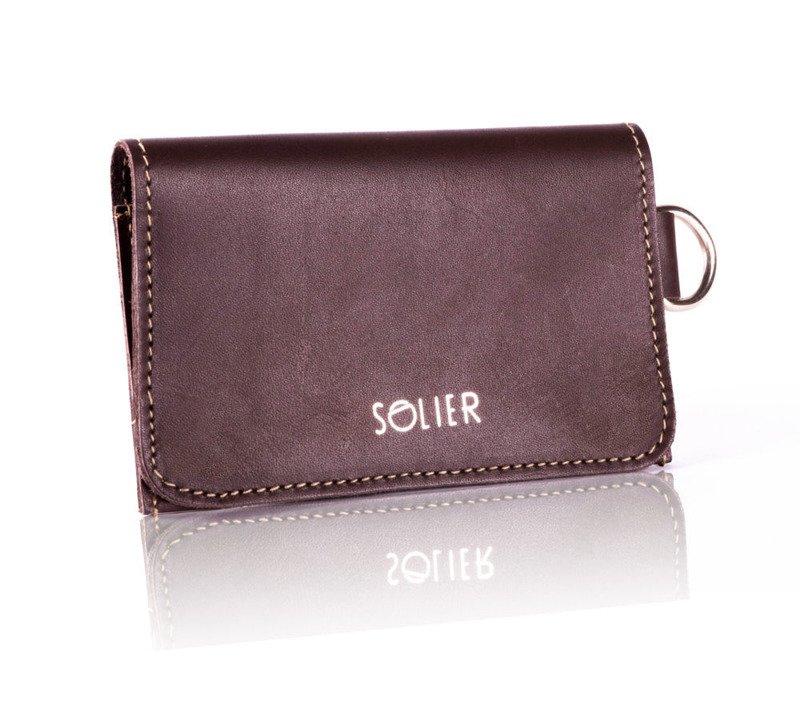 6c998829217ea ... Cienki skórzany portfel męski wizytownik SOLIER brązowy vintage ...