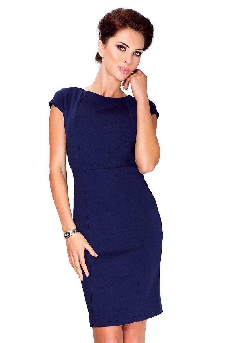 5d97449ff0 numoco Elegancka sukienka z krótkim rękawkiem - czarna - Merg.pl