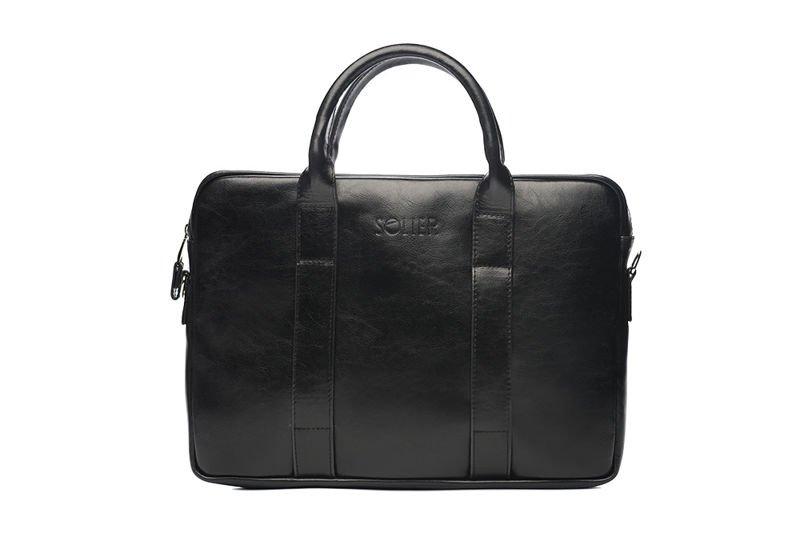 aa9545ce77805 Solier Skórzana czarna męska torba na laptopa Solier William - Merg.pl
