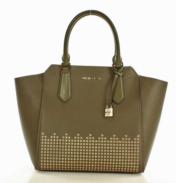 13f494050f883 MICHAEL KORS Luksusowa torebka tote MICHAEL KORS - HAYES - olive ...