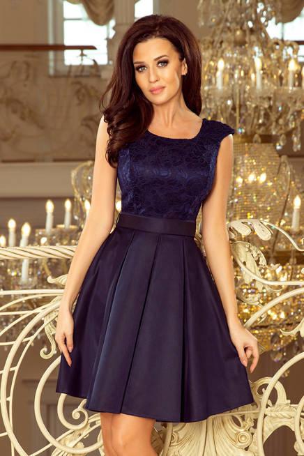 FARNA sukienka z okrągłym dekoltem i koronką - GRANATOWA