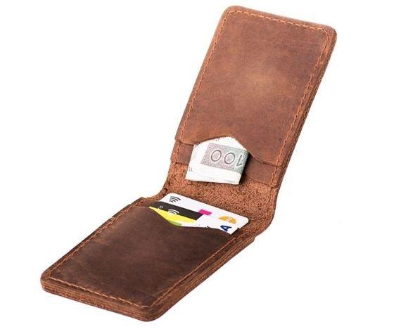 Cienki portfel ze skóry naturalnej BRODRENE jasny brąz