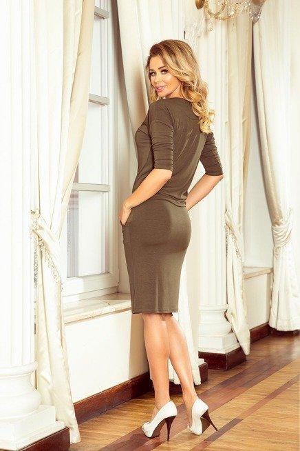SUZANA Sukienka z wiązanym dekoltem - KHAKI