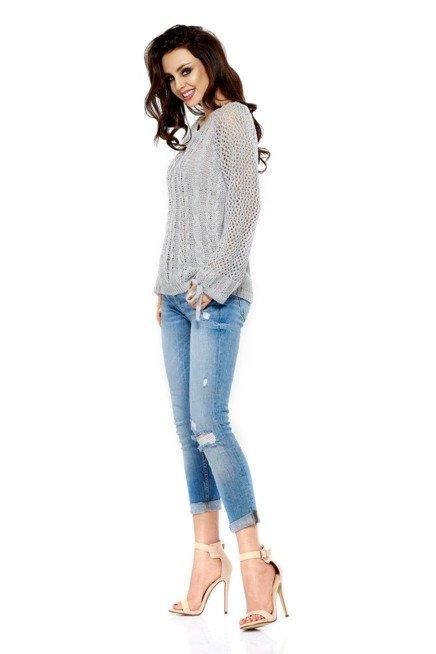 Modny ażurowy sweter jasnoszary MARY