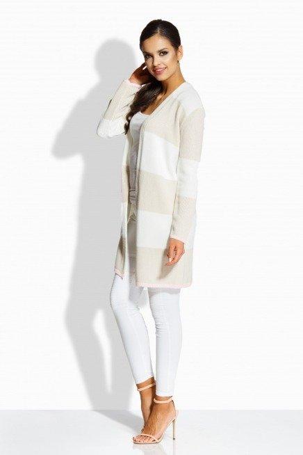 Klasyczny sweterek w paski w formie płaszczyka ekri-beżowy NADIA