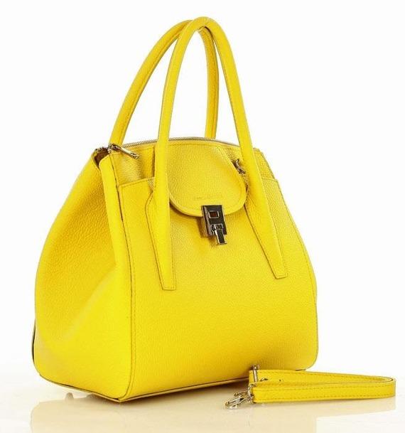 MARCO MAZZINI Luksusowa torebka shopper  skóra naturalna - żółta