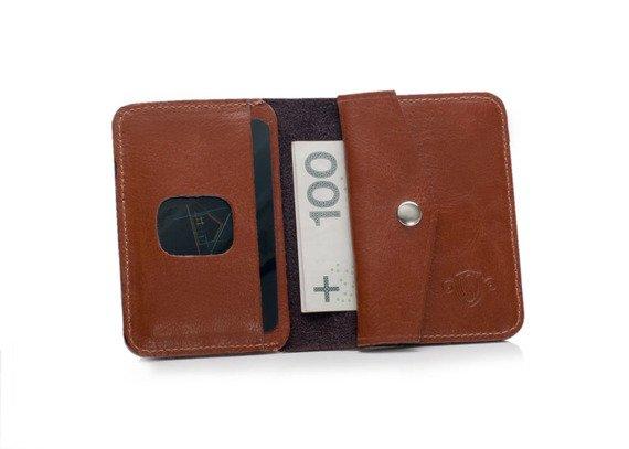 Cienki skórzany męski portfel z bilonówką SOLIER  SLIM BRĄZ