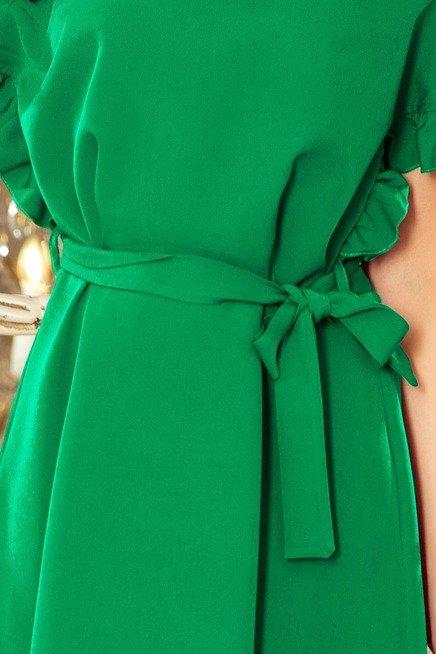 ROSALIA Sukienka z wiązaniem i falbankami na rękawkach - ZIELONA