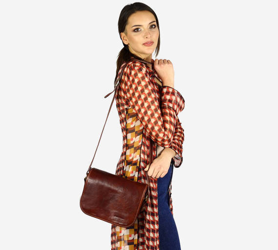 DESTINY - Włoska torebka na długim pasku MAZZINI brązowa
