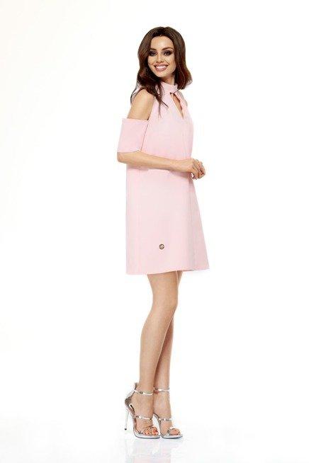 Sukienka z odkrytymi ramionami  pudrowy róż KALI