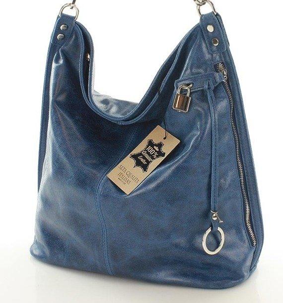 Skóra naturalna torebka worek Isabella MAZZINI niebieska