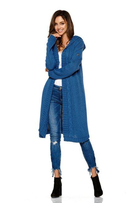 Modny kardigan z kapturem jeans TRINITY