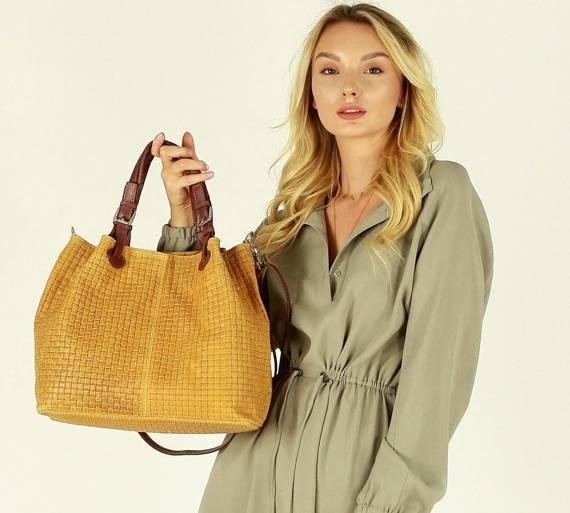 Skórzana torebka shopper MAZZINI - LINDA camello