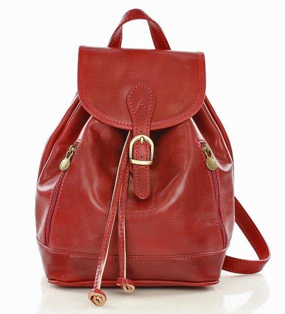 CELESTA Włoski plecak skórzany czerwony