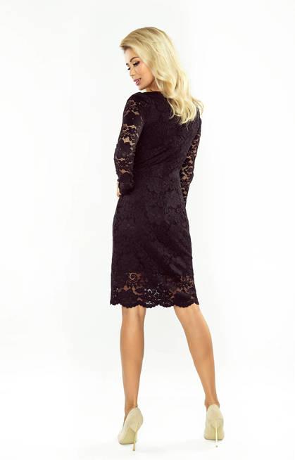 Dakota Sukienka koronkowa z długim rękawkiem i DEKOLTEM - CZARNA