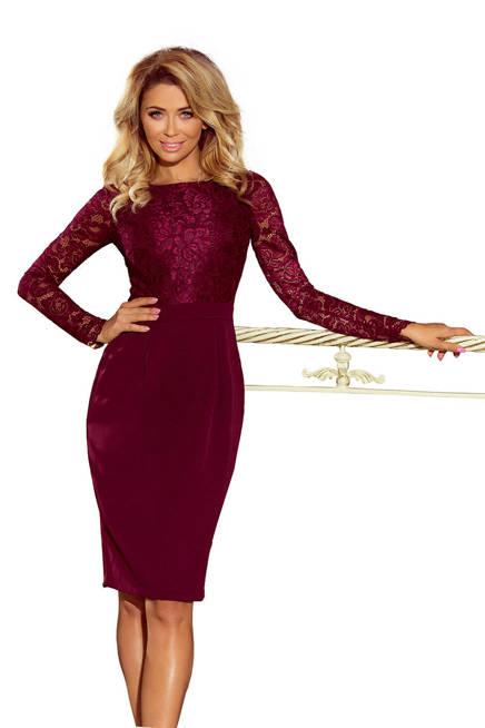 GABI elegancka ołówkowa sukienka z koronką - BORDOWA