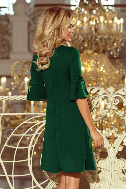 MIA Trapezowa sukienka z rozkloszowanymi rękawkami - ZIELEŃ BUTELKOWA