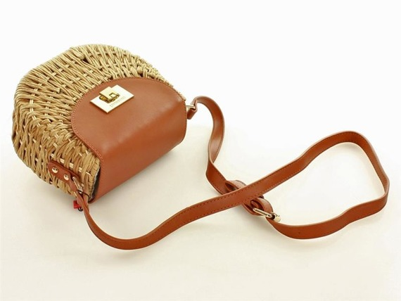 MONNARI Koszyk torebka pleciona  camel z beżem