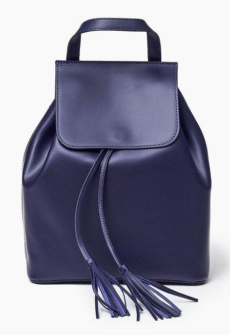 Granatowa Skórzana włoska torba plecak SUSANA