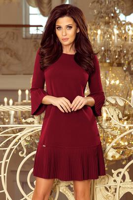 BRANDY - plisowana wygodna sukienka - BORDOWA