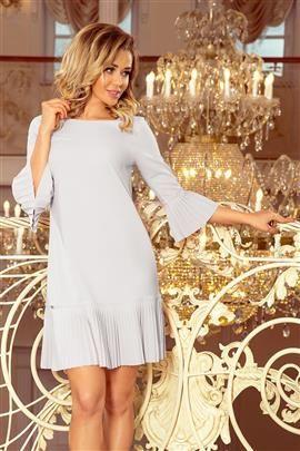 BRANDY - plisowana wygodna sukienka - SZARA