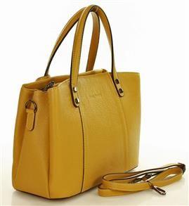 CLARA MARCO MAZZINI Torebka kuferek skóra naturalna trzykomorowa żółta sanape