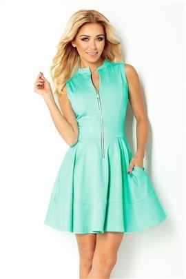 CRYSTAL Sukienka z zamkiem z przodu i kieszonkami - BŁĘKITNA LAGUNA