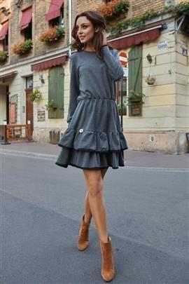 Casualowa sukienka z długim rękawem grafitowa ERIN