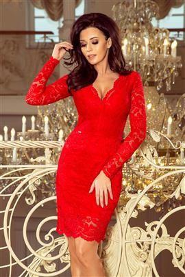 Dakota Sukienka koronkowa z długim rękawkiem i DEKOLTEM - CZERWONA