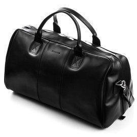 GERONE Grafitowa męska torba ze skóry Podróżna smooth leather