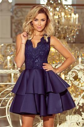 GLAMOUR - ekskluzywna sukienka z koronkowym dekoltem i pianką - GRANATOWA