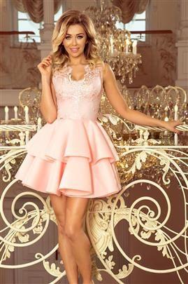 GLAMOUR - ekskluzywna sukienka z koronkowym dekoltem i pianką - PASTELOWY RÓŻ
