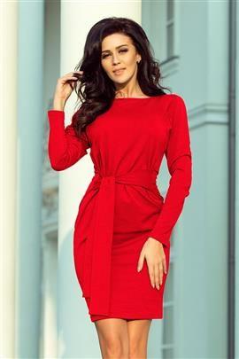JENIFER Sukienka z szerokim wiązanym PASKIEM - CZERWONA