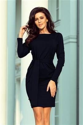 JENIFER Sukienka z szerokim wiązanym PASKIEM - GRANATOWA