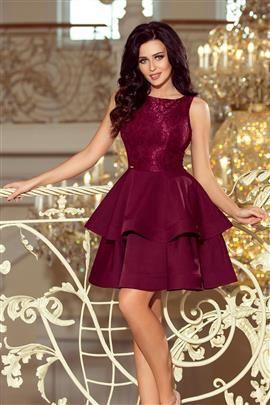JENNIFER podwójnie rozkloszowana sukienka z koronkową górą - BORDOWA