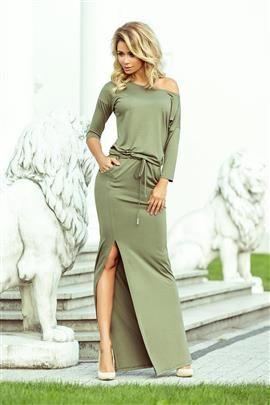 KLARIS sukienka sportowa z rozcięciem - kolor oliwkowy