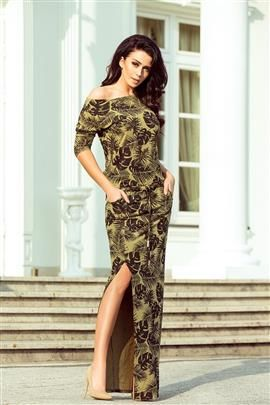 KLARIS sukienka sportowa z rozcięciem - okrągłe LIŚCIE + KHAKI