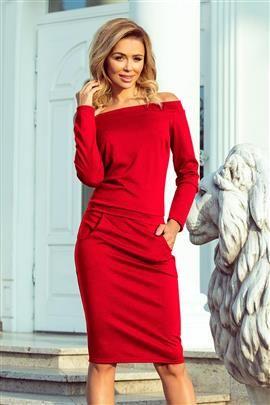 KLAUDIA Sukienka z odkrytymi ramionami - CZERWONA