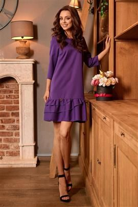 Klasyczna sukienka z falbanką fiolet LILIAN