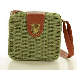 Koszyk torebka pleciona kwadratowa hit zielona