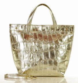 MARCO MAZZINI Modny shopper bag ze zwięrzęcym printem złoty jasny