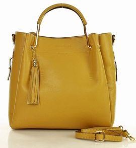 MARCO MAZZINI Torebka skórzana miejska kuferek handbag żółty