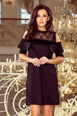 MARIA Elegancka luźna sukienka z koronką i odkrytymi ramionami