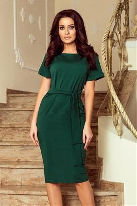 MONIK Sukienka midi z krótkim rękawkiem - ZIELEŃ BUTELKOWA