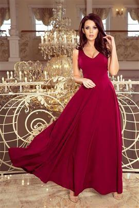 MONIQ długa suknia z dekoltem - BORDOWA