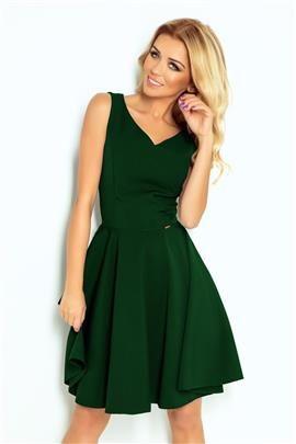 e7af9f7362 Marina Rozkloszowana sukienka - dekolt w kształcie serca - ZIELEŃ BUTELKOWA